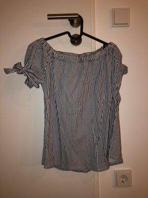 Off-Shoulder Bluse/T-Shirt gestreift weißblau