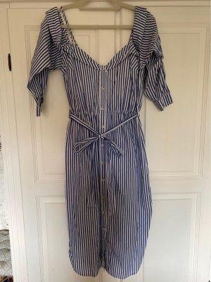 Bardot Blouse Dress white-blue