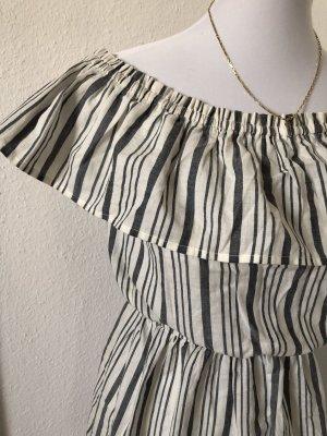 H&M Vestido estilo flounce azul celeste-blanco