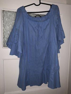 Zara Robe épaules nues bleu clair