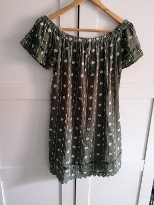 Off Shoulder Kleid in Khaki von Topshop