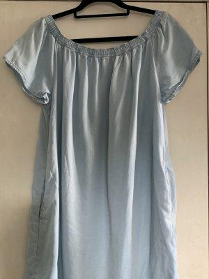 Off-Shoulder Kleid, Jeansstoff, hellblau