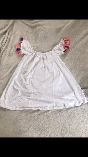Off Shoulder Kleid mit bunten Fransen