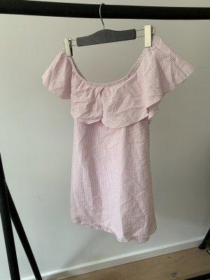 Off-Shoulder Kleid mit Rosa/weißen