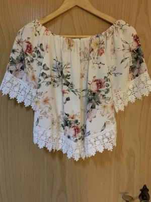 Camisa tipo Carmen blanco-rosa