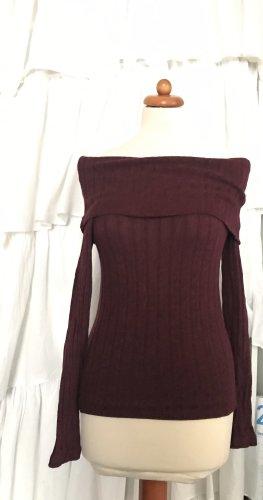 Bershka Kraagloze sweater paars-zwart