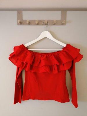Off-Shoulder Pullover mit Rüschen