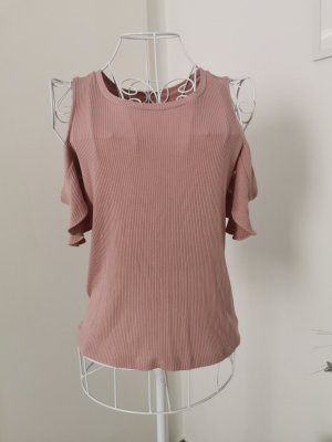off shoulder rib shirt rose Oberteil
