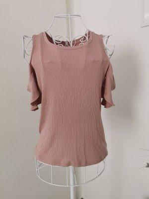 American Eagle Outfitters Top sin hombros rosa empolvado