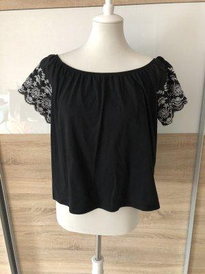 H&M Top épaules dénudées noir-blanc