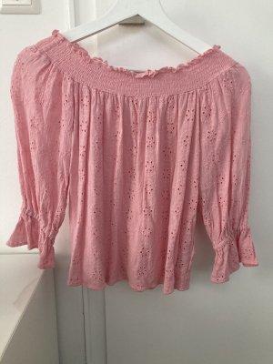 Off-Shoulder Shirt mit Stickerei H&M rosa