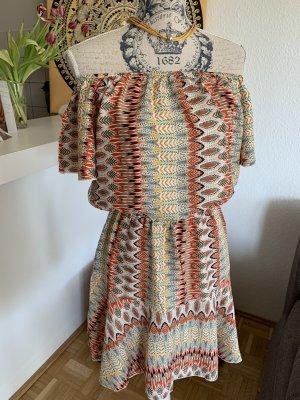 Off Shoulder Sommerkleid - Print - Orange - Größe S/M 34/36- Retro!