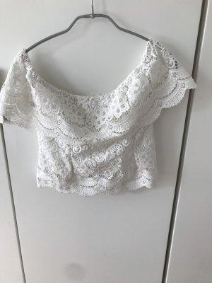 Off- Shoulder Spitzen Bluse weiß Gr.34