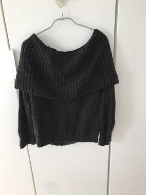 Off- Shoulder Strick Pullover Schwarz Gr. S Gina Tricot