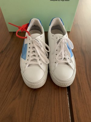 Off-White Sneaker stringata bianco-blu neon Pelle