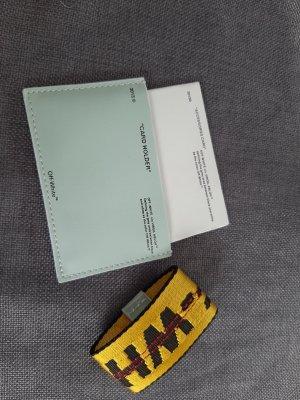 Off-White Custodie portacarte blu pallido