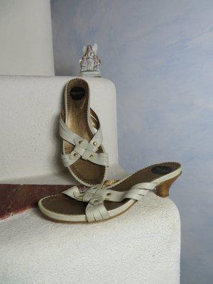 Off White Gold Wonders Echtleder Riemen Sandalette - Gr. 39 - Nieten - Absatz Slipons