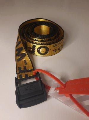 Off-White Cinturón de tela negro-amarillo