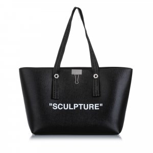 Off White Sculpture Leather Tote Bag