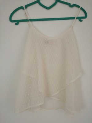 Off white Top, transparente Bluse, gepunktet