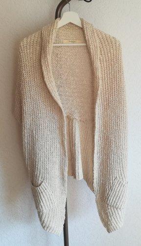 Zara Knit Cárdigan de manga corta beige claro