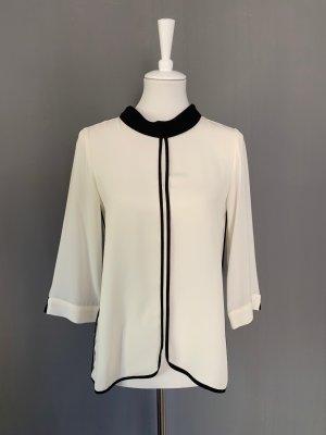 Zara Basic Blusa con collo alla coreana nero-bianco sporco