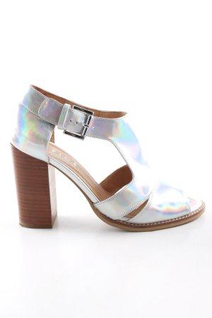 Office London Riemchen-Sandaletten silberfarben Farbverlauf extravaganter Stil