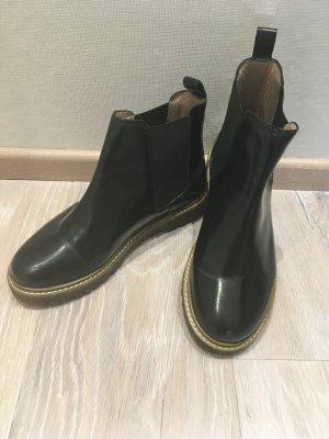 Office London Stiefelette Boot schwarz Leder Lack Gr. 37