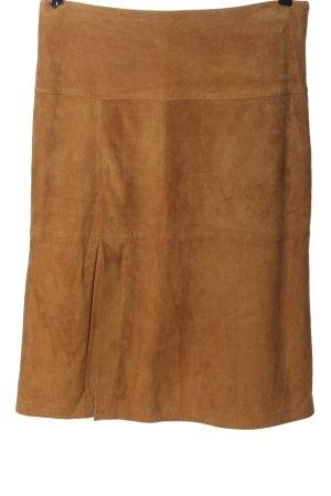 Offset Falda de cuero marrón look casual