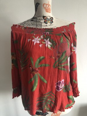 offshoulder/ Carmenbluse desigual rot mit Blumen