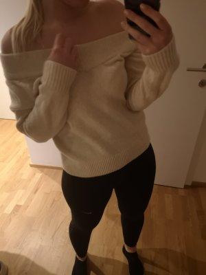 Zara Wełniany sweter kremowy-beżowy