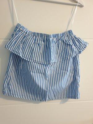 H&M Top z falbanami biały-niebieski