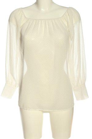 Oh my love Blusa de manga larga blanco estampado a lunares elegante
