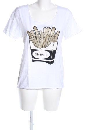 Oh Yeah! Print-Shirt weiß Motivdruck Casual-Look