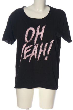 Oh Yeah! Print-Shirt schwarz-creme Schriftzug gedruckt Casual-Look