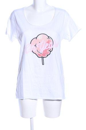 Oh Yeah! Print-Shirt weiß-pink Motivdruck Casual-Look