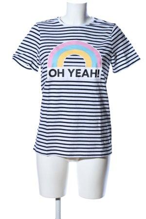 Oh Yeah! Ringelshirt weiß-schwarz Motivdruck Casual-Look
