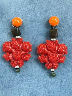 Clip d'oreille orange foncé-rouge carmin