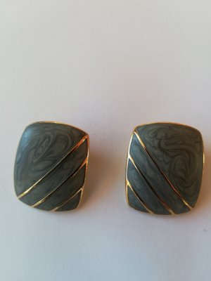 Earclip gold-colored-green grey