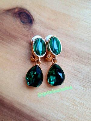 Ohrclips mit Malachit & grünen Steine neuwertig