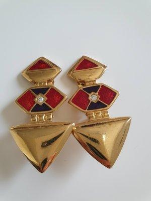 Orecchino a clip oro-rosso mattone