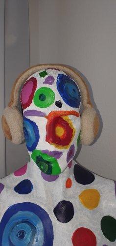 Cache-oreilles blanc cassé-beige tissu mixte