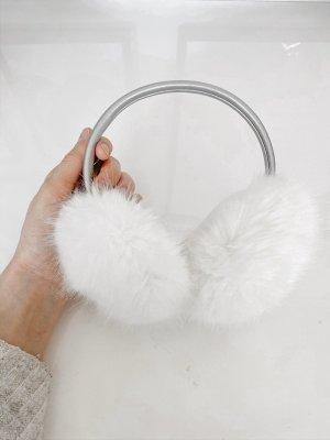 Nauszniki biały-srebrny