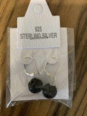 Silver Earrings black-silver-colored real silver