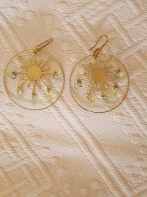 Ohrhänger aus Messing mit matten Glastropfen