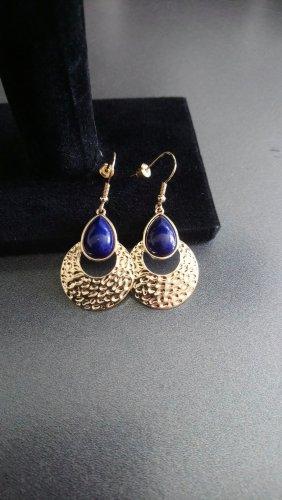 Pendientes colgante color oro-azul