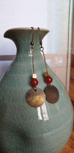 Handmade Dangle bronze-colored-dark red mixture fibre