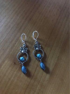 925er Silber Pendant d'oreille argenté-turquoise