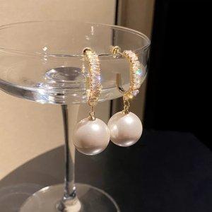 Modeschmuck Kolczyk z perłą złoto-w kolorze białej wełny