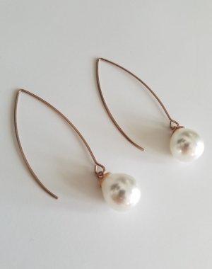 Ohrhänger mit weißer Perle (Roségold)